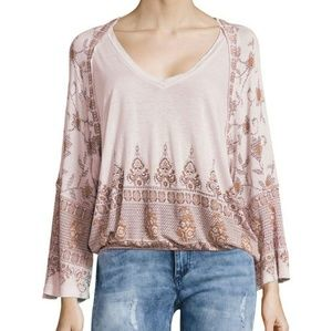 Free People Lilac Peasant Medallion Top